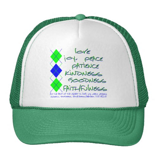 fruit of the spirit green and blue mesh hats