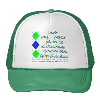 fruit of the spirit green and blue trucker hat