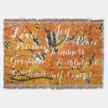 Fruit of the Spirit, Inspirational Christian Fall Throw Blanket