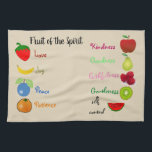 "Fruit of the Spirit kitchen towel<br><div class=""desc"">A wonderful way to brighten up your kitchen or to give away as a gift. This Fruit of the Spirit kitchen towel will make anyone smile.</div>"