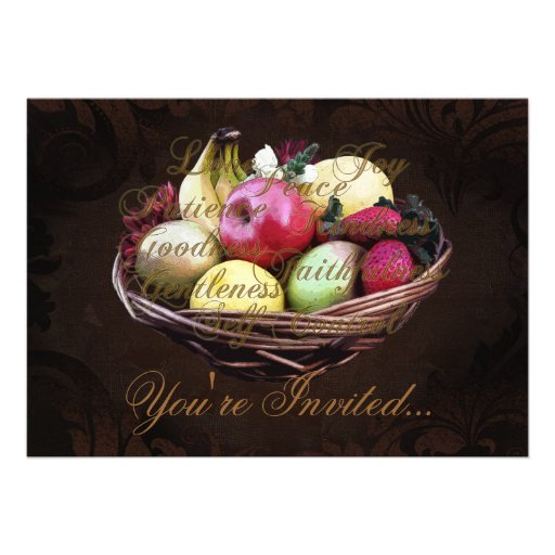 Fruit of the Spirit, Painted Brown Basket Custom Announcements