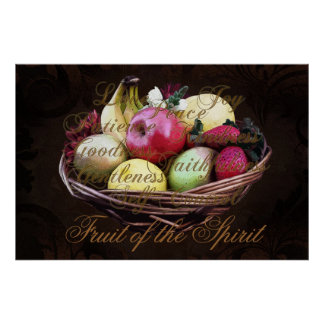 Fruit of the Spirit, Painted Brown Basket Poster