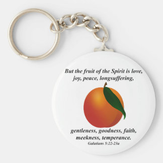 Fruit of the Spirit Peach / Apricot Bible Verse Keychain
