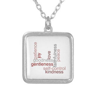 Fruit of the Spirit Word Art | Galatians 5 Silver Plated Necklace