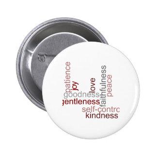Fruit of the Spirit Word Art Pinback Button