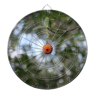 Fruit of the tree of madroño in the mountain range dartboard with darts