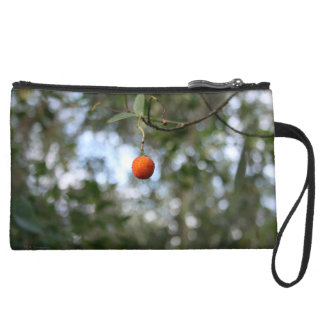 Fruit of the tree of madroño in the mountain range suede wristlet wallet