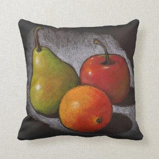 Fruit: Oil Pastel on Black: Apple, Orange, Pear Throw Pillow