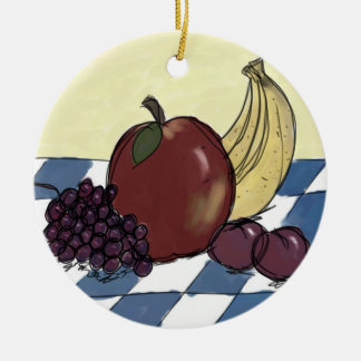 Fruit on a Blue and White Tablecloth Ornament