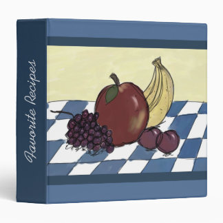 Fruit on a Blue and White Tablecloth Recipe Binder