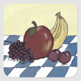 Fruit on a Blue and White Tablecloth Stickers