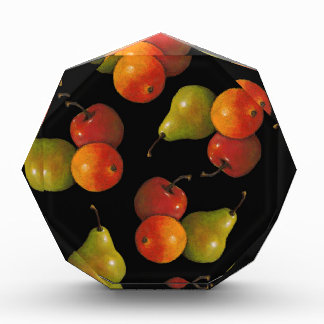Fruit on Black, Oil Pastel Art Apple, Pear, Orange Award