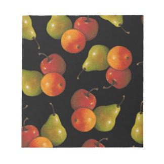 Fruit on Black, Oil Pastel Art Apple, Pear, Orange Note Pad