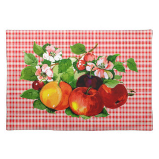 Fruit on Red Plaid Cloth Placemat