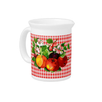Fruit on Red Plaid V2 Beverage Pitcher