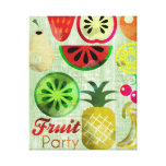 Fruit Party Kitchen wall Art Stretched Canvas Print