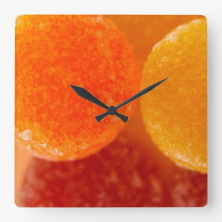 Fruit Pastilles closeup & stacked Square Wall Clock