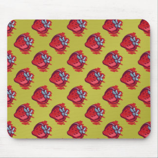 Fruit Patterns Strawberries on gold Electrinics Mouse Pad