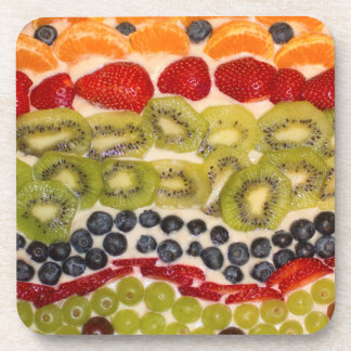 Fruit Pizza Close-up Photo Coaster