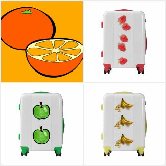 Fruit Print Suitcases
