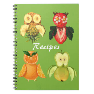 Fruit recipes -cute owls spiral notebook