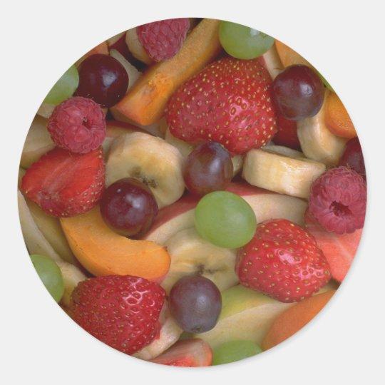 Fruit salad, close-up classic round sticker