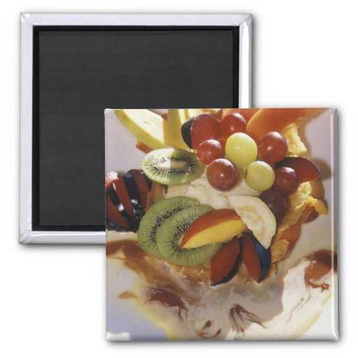 Fruit salad with ice cream. 2 inch square magnet