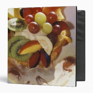 Fruit salad with ice cream. 3 ring binder