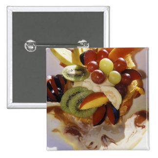 Fruit salad with ice cream. pins