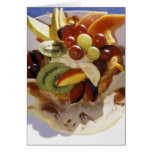 Fruit salad with ice cream. cards