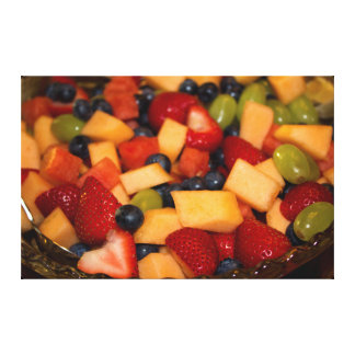 Fruit Salad with Strawberries Blueberries Grapes Canvas Print