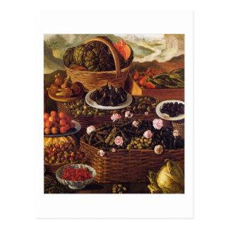 Fruit Seller in detail white border Vincenzo Campi Postcard
