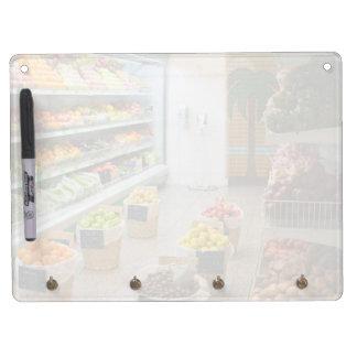 Fruit shop dry erase board with keychain holder