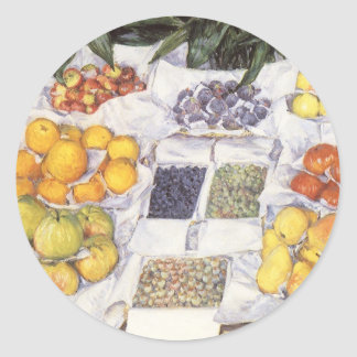 Fruit Stand by Caillebotte, Vintage Impressionism Classic Round Sticker