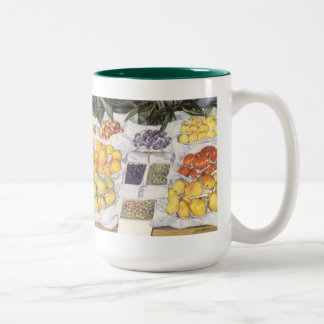 Fruit Stand by Caillebotte, Vintage Impressionism Two-Tone Coffee Mug