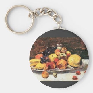 Fruit still life on a white blanket by Lesser Ury Key Chain