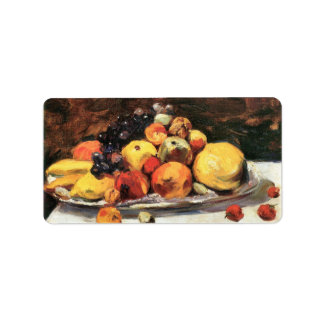 Fruit still life on a white blanket by Lesser Ury Address Label