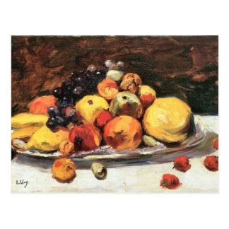 Fruit still life on a white blanket by Lesser Ury Postcard
