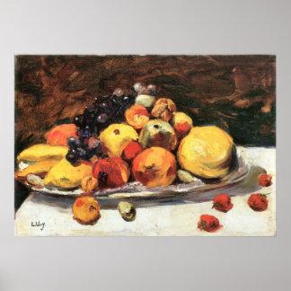 Fruit still life on a white blanket by Lesser Ury Poster
