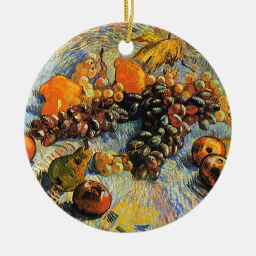 Fruit Still Life, Vincent Van Gogh Double-Sided Ceramic Round Christmas Ornament