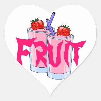 Fruit Sweet Smoothie Strawberry Dessert Destiny Heart Sticker