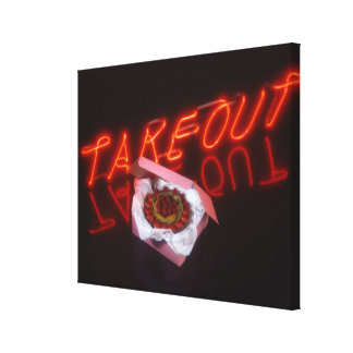 Fruit tart with neon take-out sign canvas print