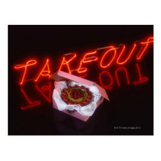 Fruit tart with neon take-out sign postcard
