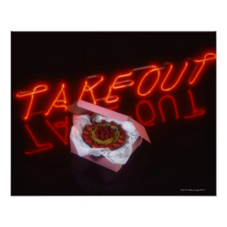 Fruit tart with neon take-out sign poster
