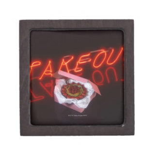 Fruit tart with neon take-out sign premium jewelry box