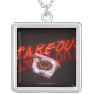 Fruit tart with neon take-out sign silver plated necklace