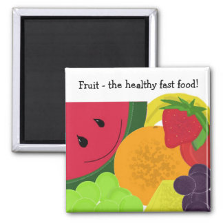 Fruit the Healthy Fast Food 2 Inch Square Magnet