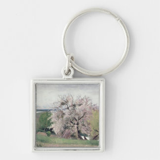 Fruit Tree in Blossom, Bois-le-Roi Silver-Colored Square Keychain