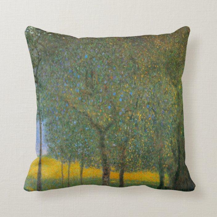 Fruit Trees By Gustav Klimt Vintage Art Nouveau Throw Pillow Zazzle Com