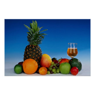 Fruit varieties and juice poster